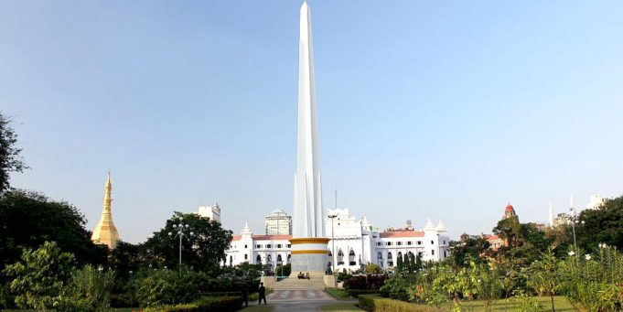 Stone Pillar of Independence in Yangon, Myanmar.