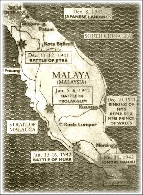 Map of major battles in and near Malaya during world war 2