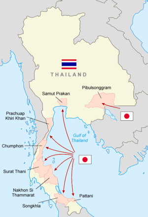 Map of the Japanese invasion of Thailand, December 8, 1941.