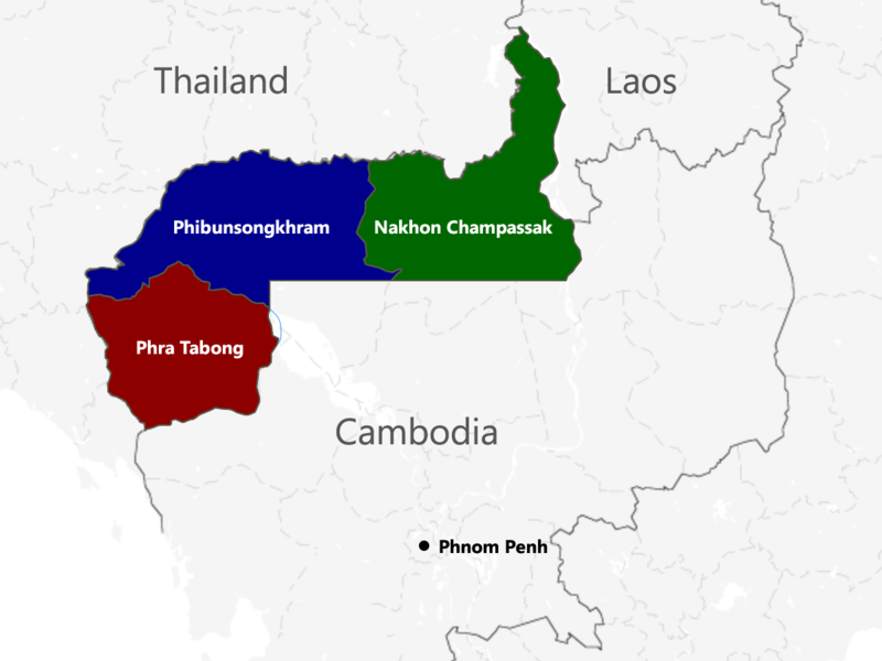 The provinces ceded from Cambodia by France to Thailand.