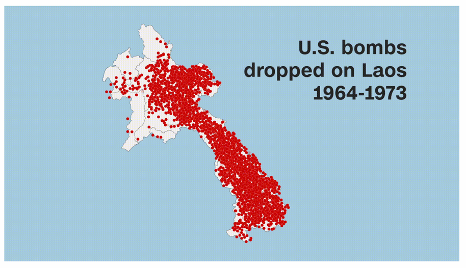 US bombs dropped on Laos during 1946 to 1973