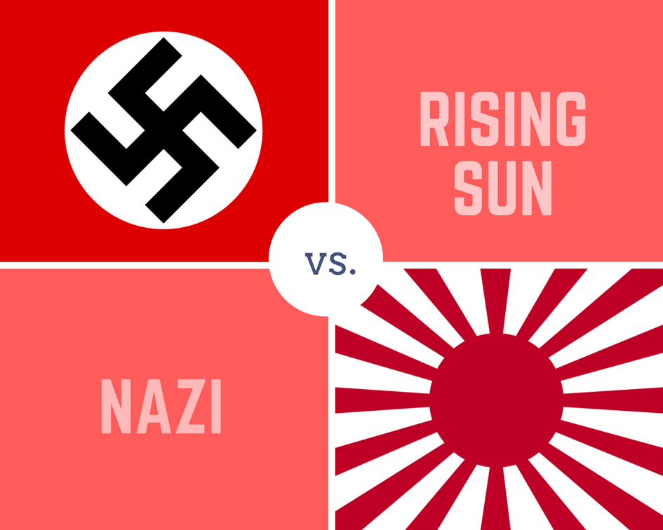 nazi and rising sun flag
