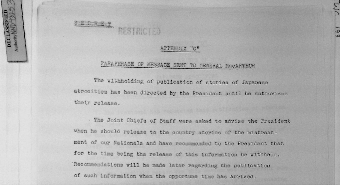 Order from President Roosevelt about Japanese atrocities in World War 2